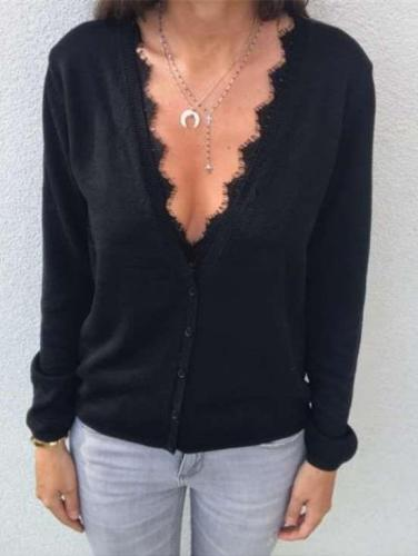 Fashion Pure V neck Lace Cardigan T-Shirts