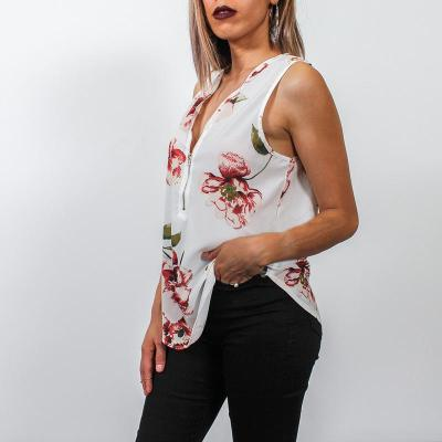 Sexy Fashion Floral Zipper V neck  T-Shirts