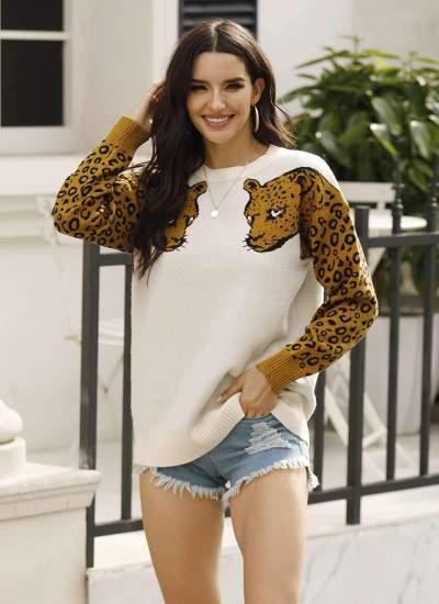Fashion Leopaerd print Round neck Long sleeve Knit Sweaters