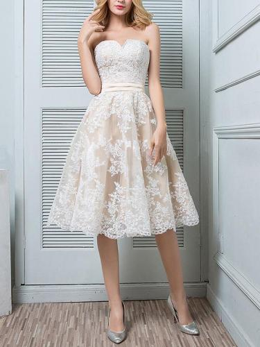 Elegant Formal Plain Lace Off Shoulder High Waist Skater Evening Dress