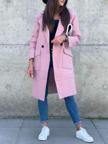 Simple Pocket Solid Color Woolen Coats