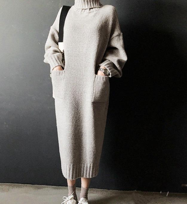 Fashion Simple Loose High Necked Knitted Casual Dress