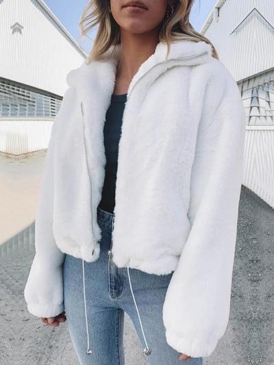 Fashion plain chic women turn down collar sweatshirts