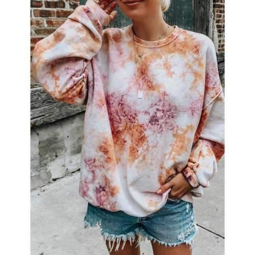 Fashion Casual Loose Plangi Round neck Long sleeve Sweatshirts