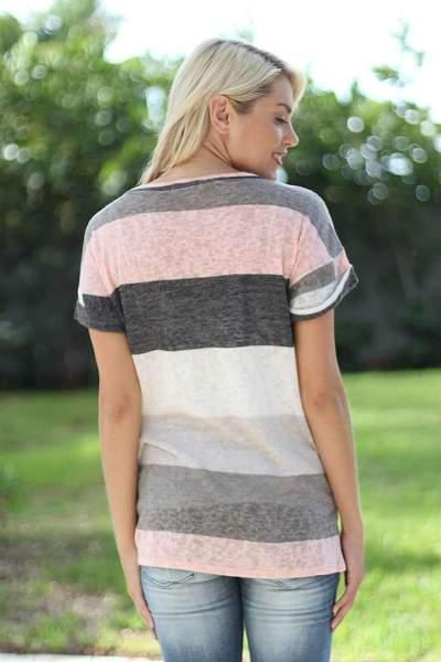 Casual Short sleeve Stripe T-Shirts