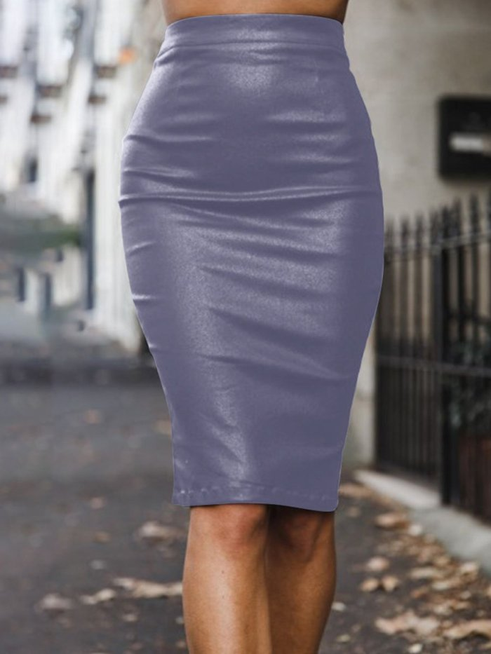 Autumn Woman More Colors PU Bodycon Skirts