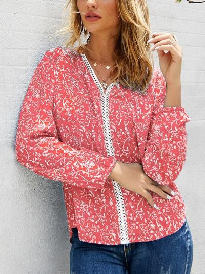 Floral printed long sleeve casual shirts top