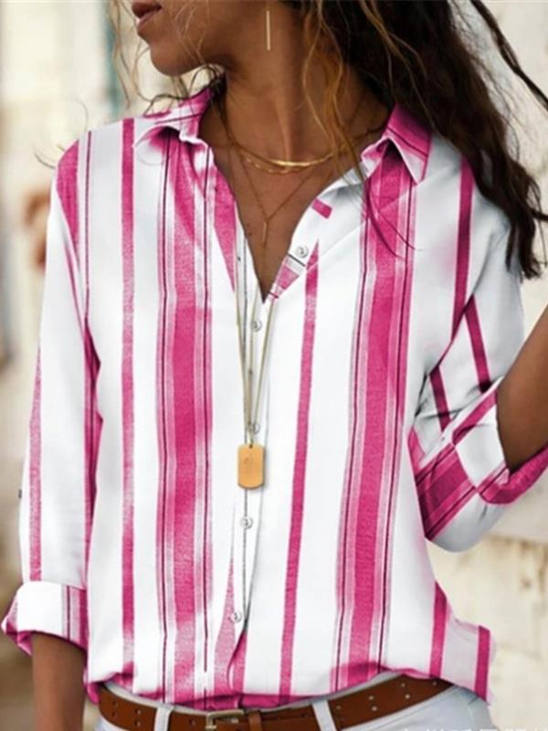 Elegant stripe printed casual long sleeve blouses
