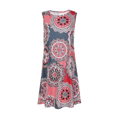 Fashion Print Sleeveless Vest Shift Dresses