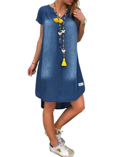 Casual denim v neck short sleeve shift dresses