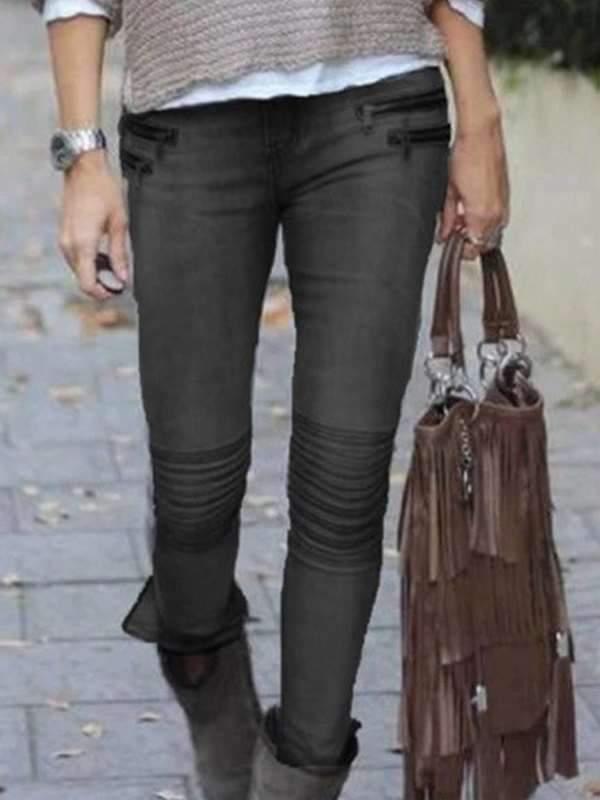 Fashion zippers slim women long denim pants jeans
