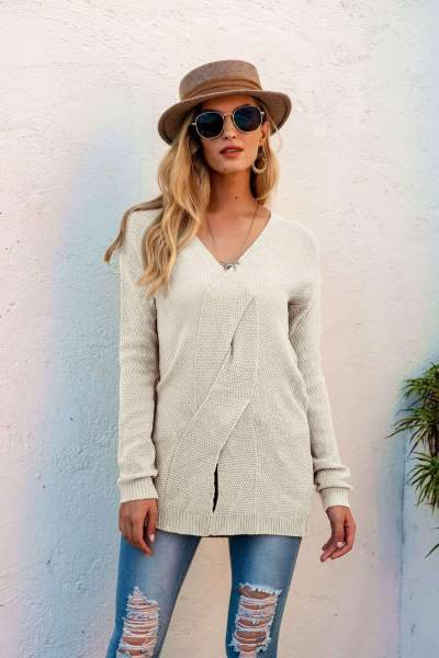 Fashion Pure V neck Snarls Long sleeve Knit Sweaters