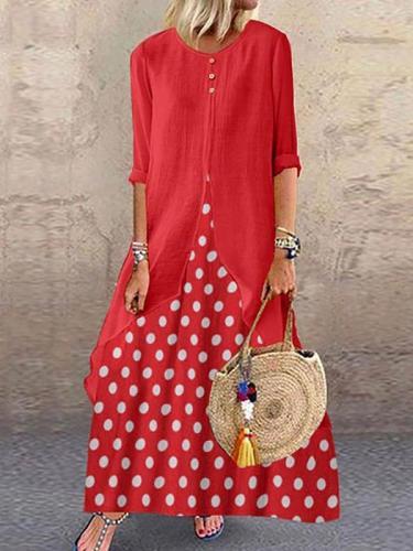 Women vintage dolka pot long sleeve maxi dresses