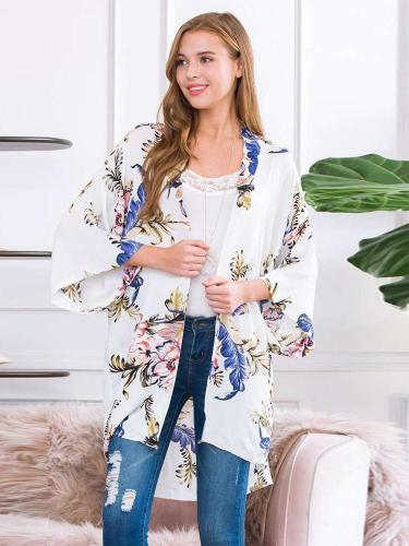 Fashion Loose Casual Print  Chiffon Cardigan