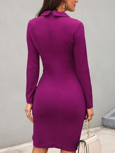 Women Big lapel fashion long sleeve Bodycon dresses