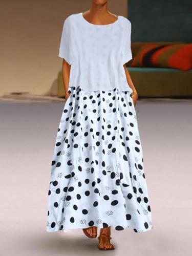 Two-piece round neck and short sleeves polka dot maxi dresses