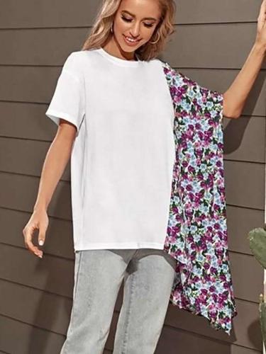 Fashion Loose Gored Round neck Short sleeve Irregular T-Shirts