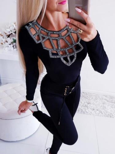 Sexy hollow out fabric comfortable long sleeve T-shirts