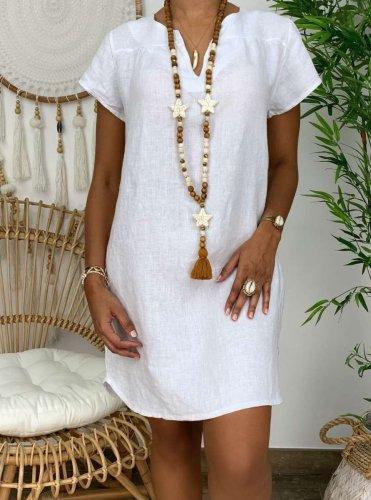 Loose Pure Short sleeve V neck Shift Dresses