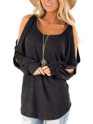 Fashion Long sleeve Round neck Off shoulder Knit T-Shirts