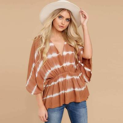 Casual Loose Stripe V neck Batwing sleeve Gored Plus T-Shirts