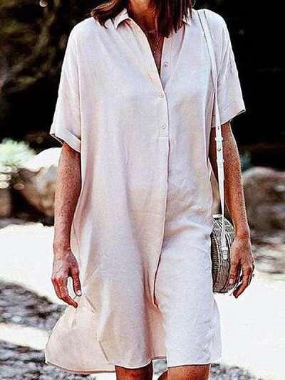 Plus Pure Short sleeve Lapel Blouse Shift Dresses