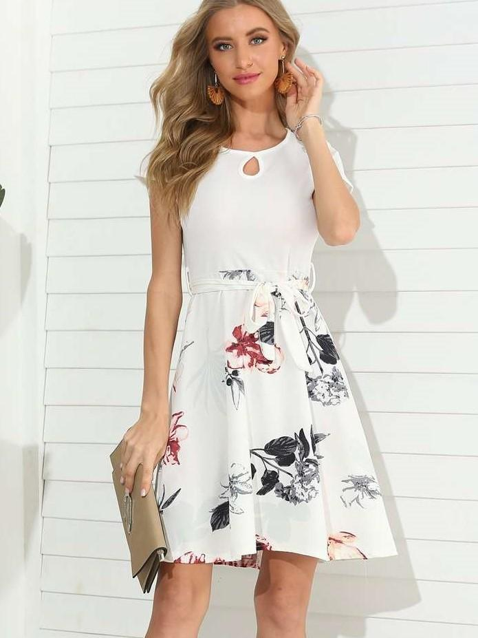 Fashion Print Gored Lacing Round neck Short sleeve Shift Dresses