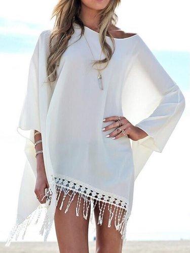 Tassel Plain Batwing Sleeve Beachwear