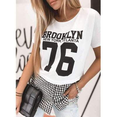 Fashion Plaid Gored Short sleeve Round neck T-Shirts