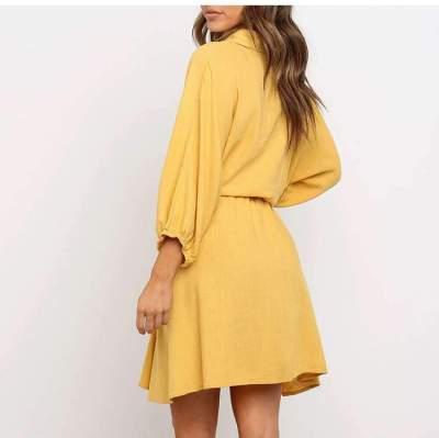 Fashion Lapel Long sleeve Lacing Skater Dresses