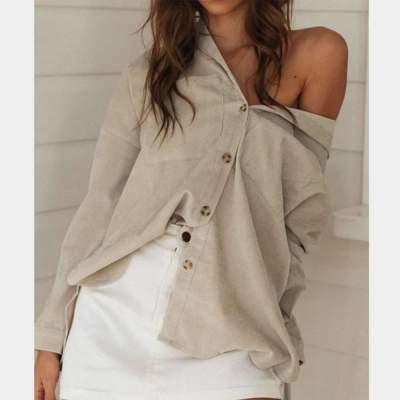 Loose Pure Lapel Long sleeve Blouses