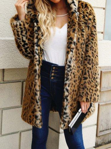Hooded  Leopard  Long Sleeve Coats