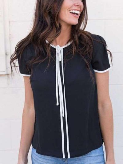 Fashion Round neck Short sleeve Lacing Blouses