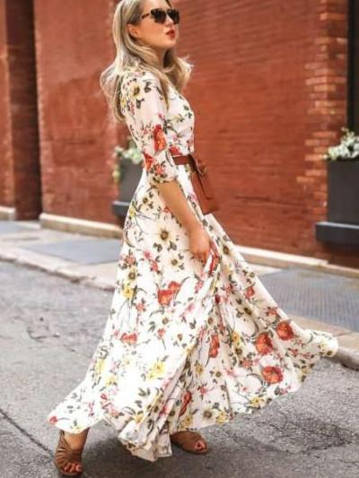 Casual Print Round neck Three quarter sleeve Belt Maxi Dresses