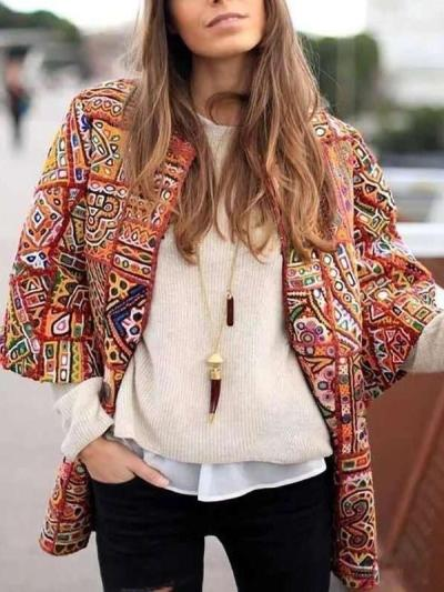 Fashion Casual Print Round neck Three quarter sleeve Coats