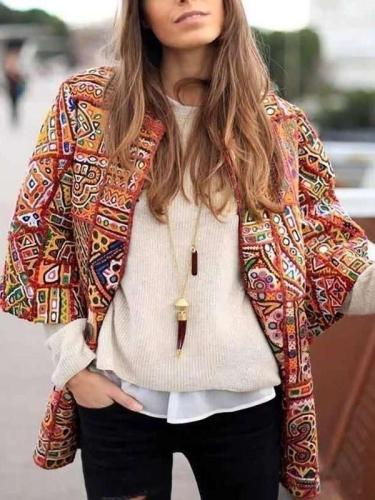 Fashion Casual Print Round neck Three quarter sleeve Coats