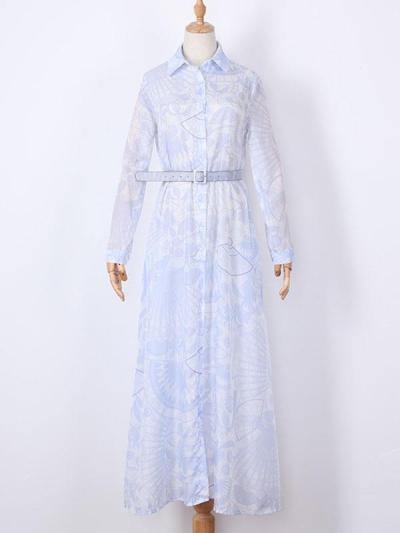 Slim turn down neck Halter printed maxi dresses