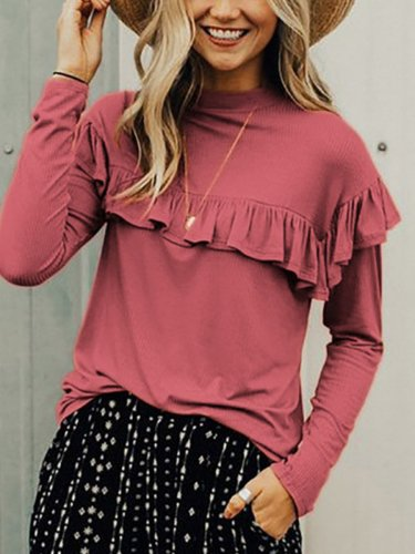 Cute Flouncing Long Sleeve Autumn T-shirts