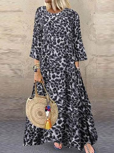 Vintage leopard printed round neck women maxi dresses