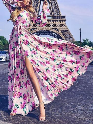Flower Printed Belt Tie Maxi Vacation Big Hem Dresses
