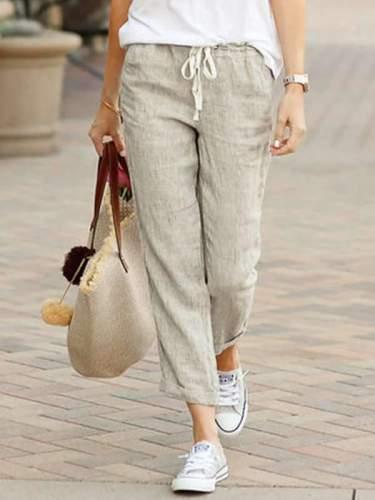 Women casual daily long cotton loose pants