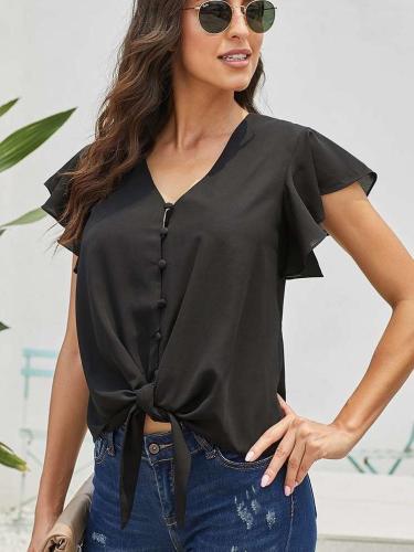 Pure V neck Fastener Short sleeve Falbala T-Shirts