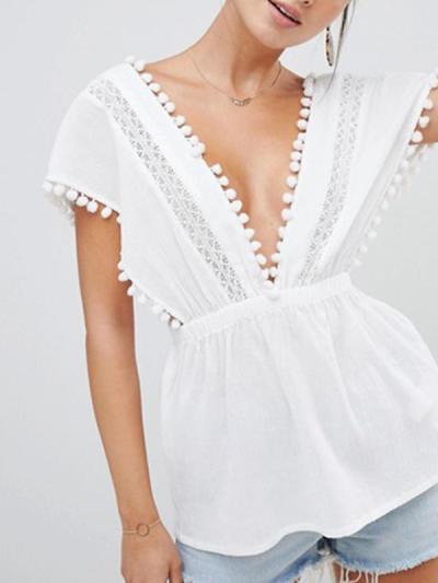 Solid color v-neck lace patchwork cut-out v-back sexy T-shirts