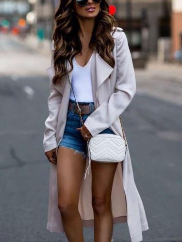 Pure Long sleeve Lapel Trench Coats