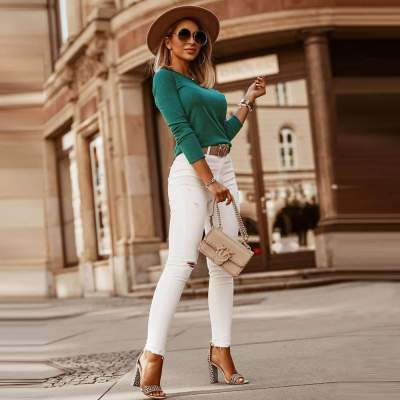 Fashion Pure Round neck Long sleeve Sweaters