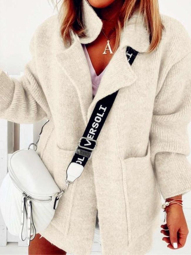 Fashion Pure Lapel Long sleeve Pocket Knit Cardigan Coat