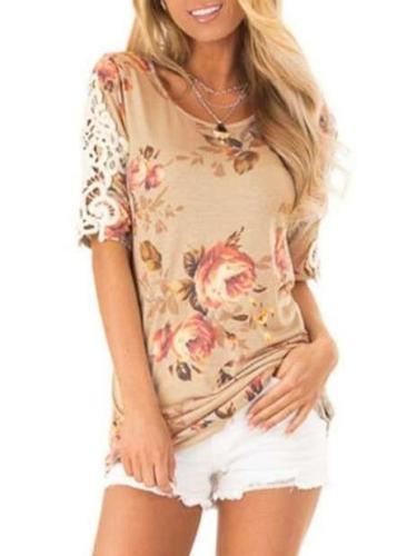 Fashion Round neck Print Lace T-Shirts
