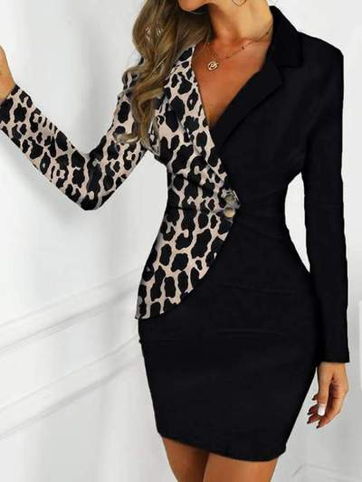 Fashion Gored Long sleeve Lapel Work Bodycon Dresses