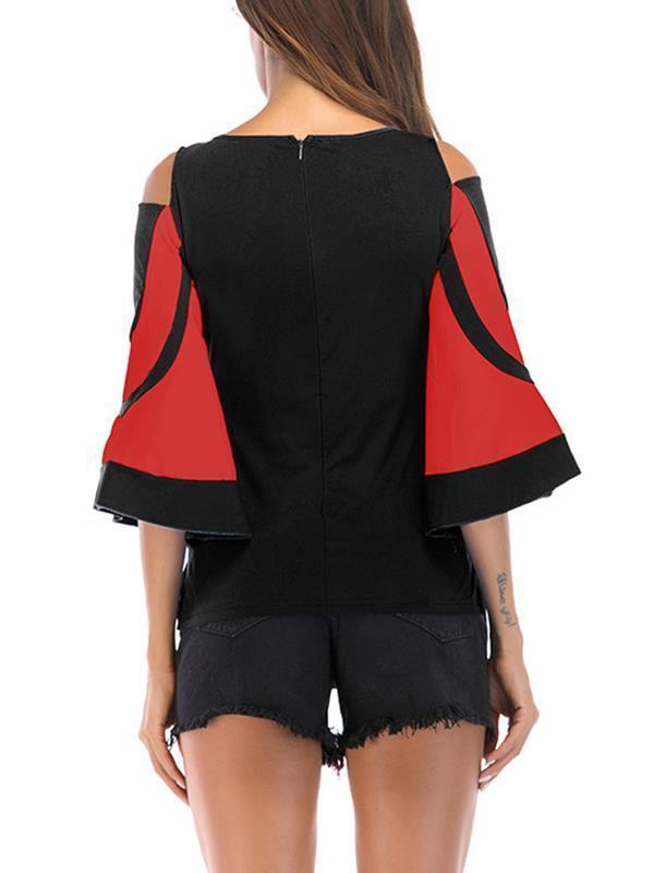 Vintage round neck open shoulder flared sleeve back zipper T-shirts