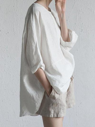 Loose Women Plain Cotton linen Three Quarter Sleeve Blouses
